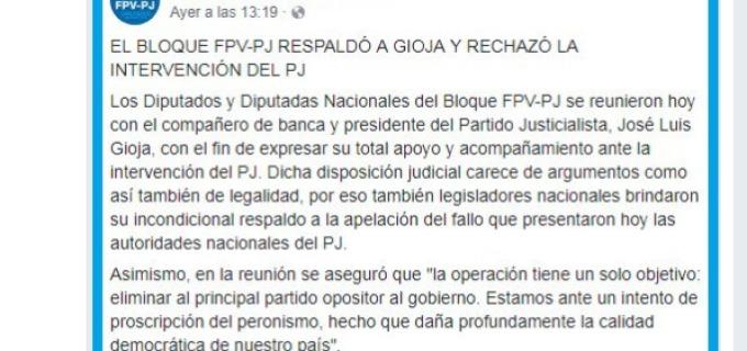 El cerrajero de Barrionuevo no pudo con las cuentas oficiales del PJ en redes sociales que activamente reproducen el repudio de la oscura maniobra intervencionista desde todos los rincones del país, gobernadores, la militancia peronista nacional, el socialismo, entre tantos